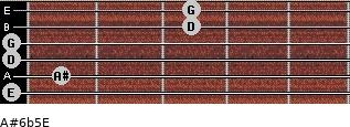 A#6b5/E for guitar on frets 0, 1, 0, 0, 3, 3