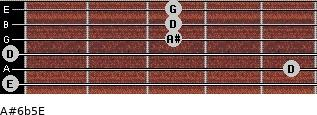A#6b5/E for guitar on frets 0, 5, 0, 3, 3, 3