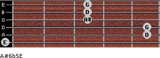 A#6b5/E for guitar on frets 0, 5, 5, 3, 3, 3