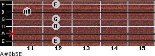 A#6b5/E for guitar on frets 12, x, 12, 12, 11, 12
