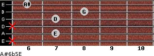 A#6b5/E for guitar on frets x, 7, x, 7, 8, 6
