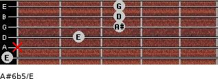 A#6b5/E for guitar on frets 0, x, 2, 3, 3, 3