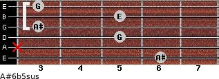 A#6b5sus for guitar on frets 6, x, 5, 3, 5, 3