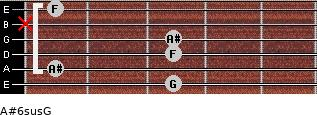 A#6sus/G for guitar on frets 3, 1, 3, 3, x, 1
