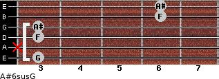 A#6sus/G for guitar on frets 3, x, 3, 3, 6, 6