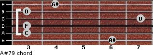 A#7/9 for guitar on frets 6, 3, 3, 7, 3, 4