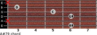 A#7/9 for guitar on frets 6, x, 6, 5, 3, x