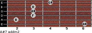 A#7 add(m2) for guitar on frets 6, 2, 3, 3, 3, 4
