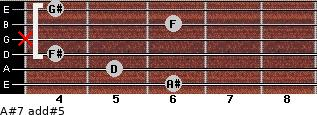 A#7 add(#5) for guitar on frets 6, 5, 4, x, 6, 4