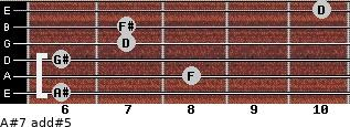A#7 add(#5) for guitar on frets 6, 8, 6, 7, 7, 10