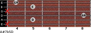 A#7b5/D for guitar on frets x, 5, 8, x, 5, 4
