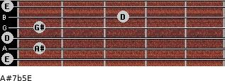 A#7b5/E for guitar on frets 0, 1, 0, 1, 3, 0