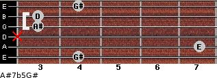 A#7b5/G# for guitar on frets 4, 7, x, 3, 3, 4