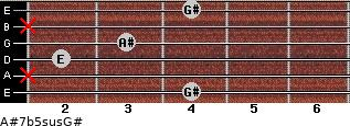 A#7b5sus/G# for guitar on frets 4, x, 2, 3, x, 4