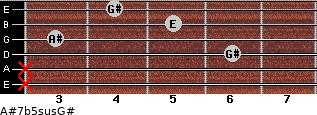 A#7b5sus/G# for guitar on frets x, x, 6, 3, 5, 4