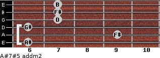 A#7#5 add(m2) for guitar on frets 6, 9, 6, 7, 7, 7