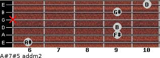 A#7#5 add(m2) for guitar on frets 6, 9, 9, x, 9, 10