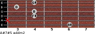 A#7#5 add(m2) for guitar on frets 6, x, 4, 4, 3, 4