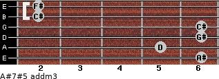 A#7#5 add(m3) for guitar on frets 6, 5, 6, 6, 2, 2