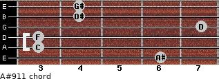 A#9/11 for guitar on frets 6, 3, 3, 7, 4, 4