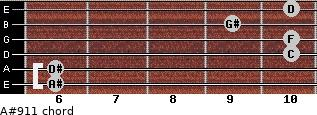 A#9/11 for guitar on frets 6, 6, 10, 10, 9, 10