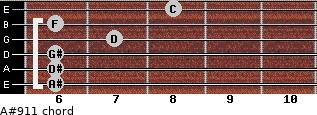 A#9/11 for guitar on frets 6, 6, 6, 7, 6, 8