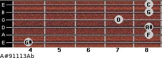 A#9/11/13/Ab for guitar on frets 4, 8, 8, 7, 8, 8