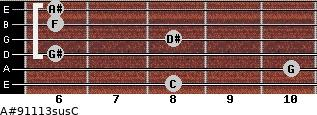 A#9/11/13sus/C for guitar on frets 8, 10, 6, 8, 6, 6