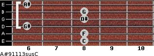 A#9/11/13sus/C for guitar on frets 8, 8, 6, 8, 8, 6