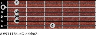 A#9/11/13sus/G add(m2) guitar chord