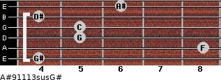A#9/11/13sus/G# for guitar on frets 4, 8, 5, 5, 4, 6