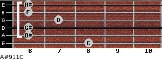 A#9/11/C for guitar on frets 8, 6, 6, 7, 6, 6