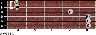 A#9/11/C for guitar on frets 8, 8, 8, 7, 4, 4