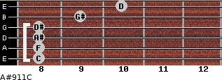 A#9/11/C for guitar on frets 8, 8, 8, 8, 9, 10
