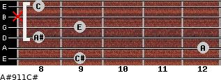 A#º9\11\C# for guitar on frets 9, 12, 8, 9, x, 8