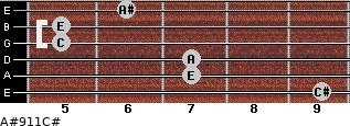 A#º9\11\C# for guitar on frets 9, 7, 7, 5, 5, 6