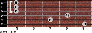 A#º9\11\C# for guitar on frets 9, 7, 8, 5, 5, 5