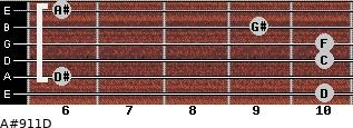 A#9/11/D for guitar on frets 10, 6, 10, 10, 9, 6