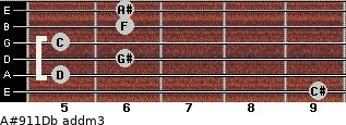 A#9/11/Db add(m3) guitar chord