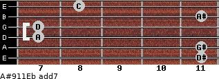 A#9/11/Eb add(7) guitar chord
