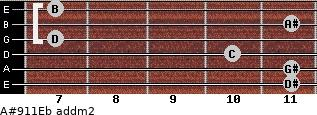 A#9/11/Eb add(m2) guitar chord