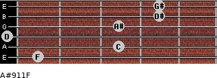 A#9/11/F for guitar on frets 1, 3, 0, 3, 4, 4