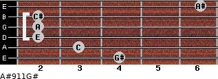 A#º9\11\G# for guitar on frets 4, 3, 2, 2, 2, 6