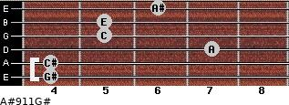 A#º9\11\G# for guitar on frets 4, 4, 7, 5, 5, 6