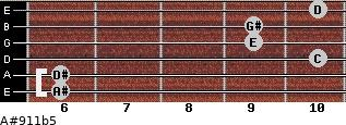 A#9/11b5 for guitar on frets 6, 6, 10, 9, 9, 10