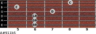 A#9/11b5 for guitar on frets 6, 6, 6, 7, 5, 8