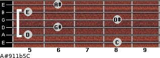 A#9/11b5/C for guitar on frets 8, 5, 6, 8, 5, 6