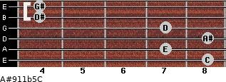A#9/11b5/C for guitar on frets 8, 7, 8, 7, 4, 4