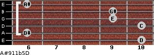 A#9/11b5/D for guitar on frets 10, 6, 10, 9, 9, 6