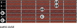A#9/11b5/E for guitar on frets 0, 3, 0, 3, 4, 4